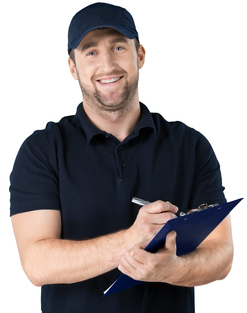 Professional service man with clipboard